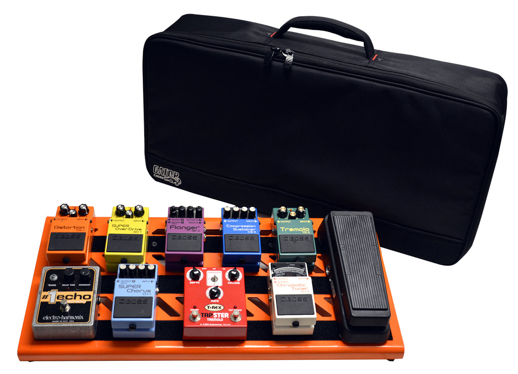 Gator GPB-BAK-OR British Orange Large Aluminum Pedal Board With Gator Carry Bag And Bottom Mounting Power Supply Bracket