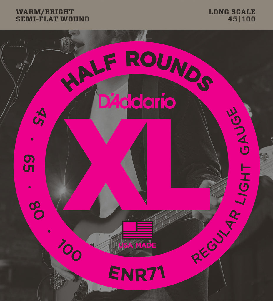 D'addario  ENR71 Half Round Bass Guitar Strings, Regular Light, 45-100, Long Scale