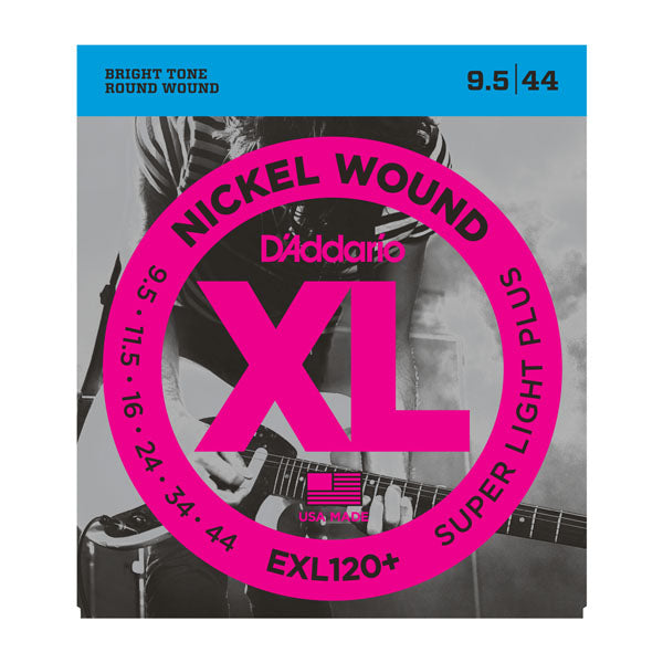 D'addario  EXL120+ Nickel Wound Electric Guitar Strings, Super Light Plus, 9.5-44