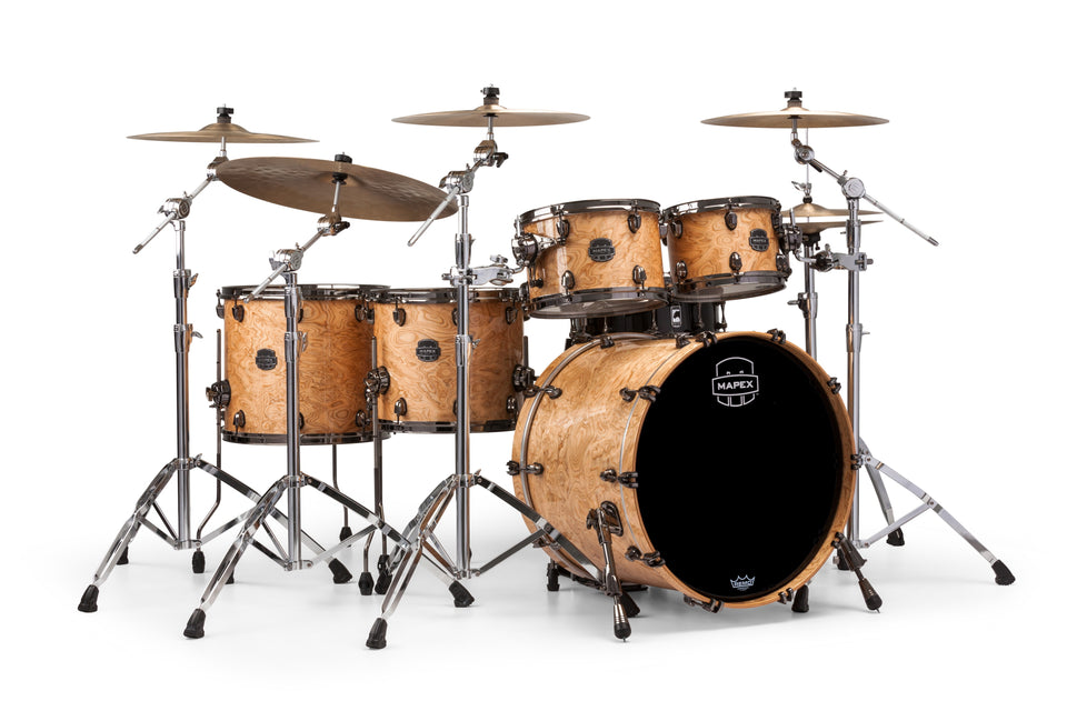 Mapex Saturn V MH Exotic Studioease 5 Piece Drum Set Shell Pack - Natural Maple Burl