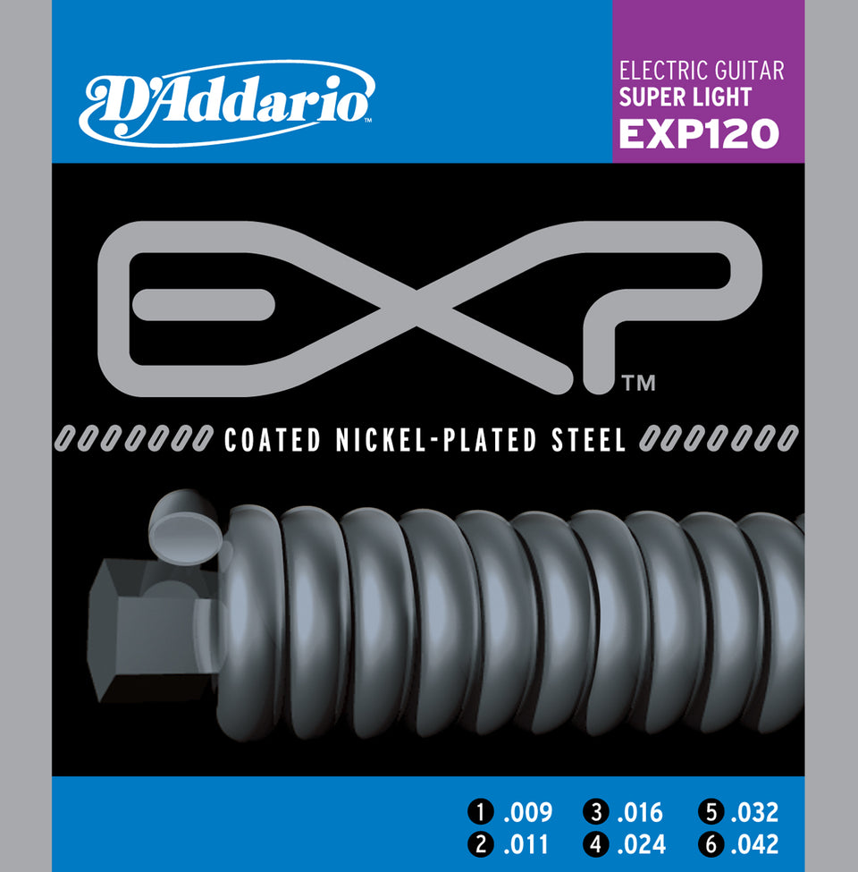 D'addario  EXP120 Coated Electric Guitar Strings, Super Light, 15585