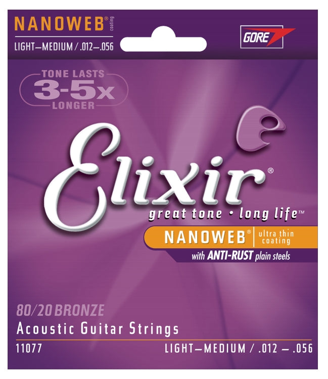 Elixir 11077 80/20 Bronze Nanoweb Coated Acoustic Guitar Strings, Light-Medium (12 - 56)