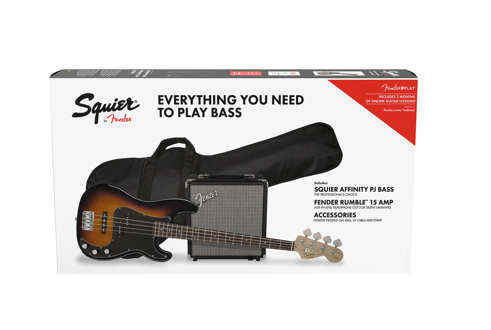Squier Affinity Series Precision PJ Bass Pack w/ Amp and Accessories - Brown Sunburst