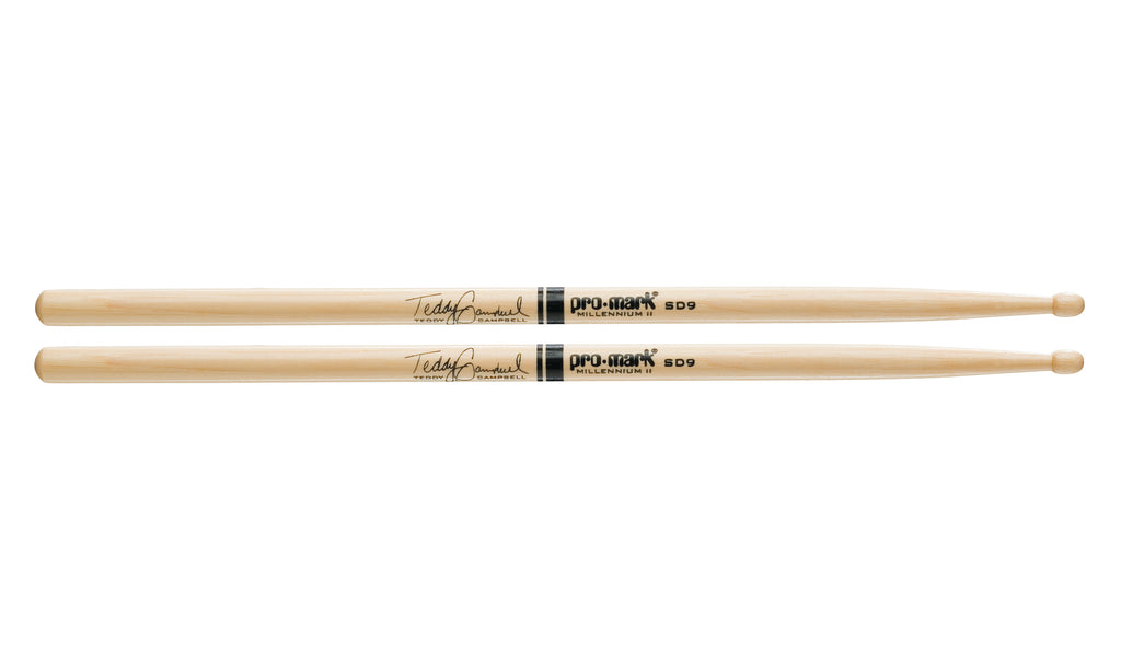 Promark TXSD9W Hickory SD9 Wood Tip Teddy Campbell drumstick