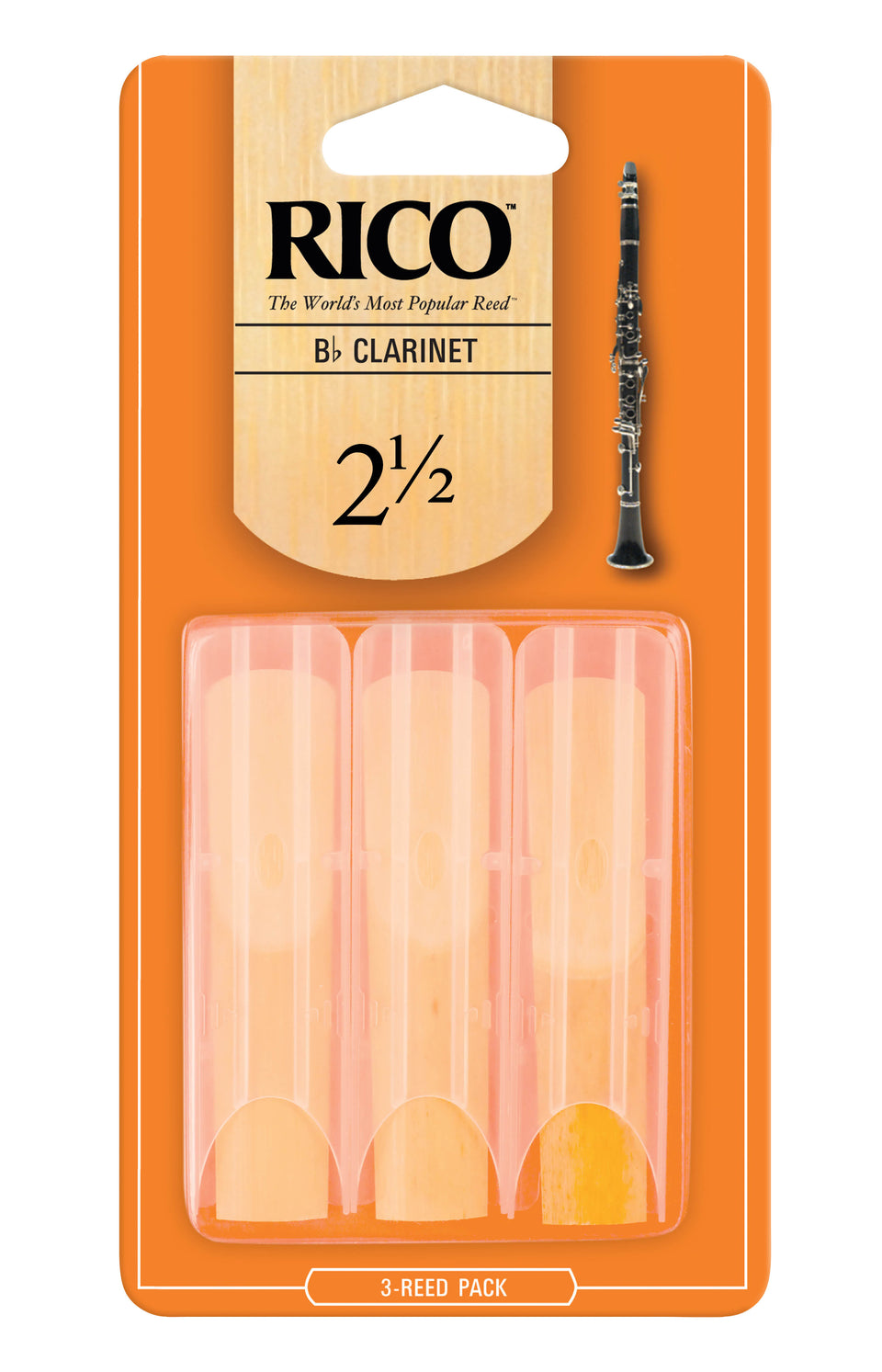 D'Addario Woodwinds RCA0325 Rico B-Flat Clarinet Reeds, Strength 2.5, 3-Pack