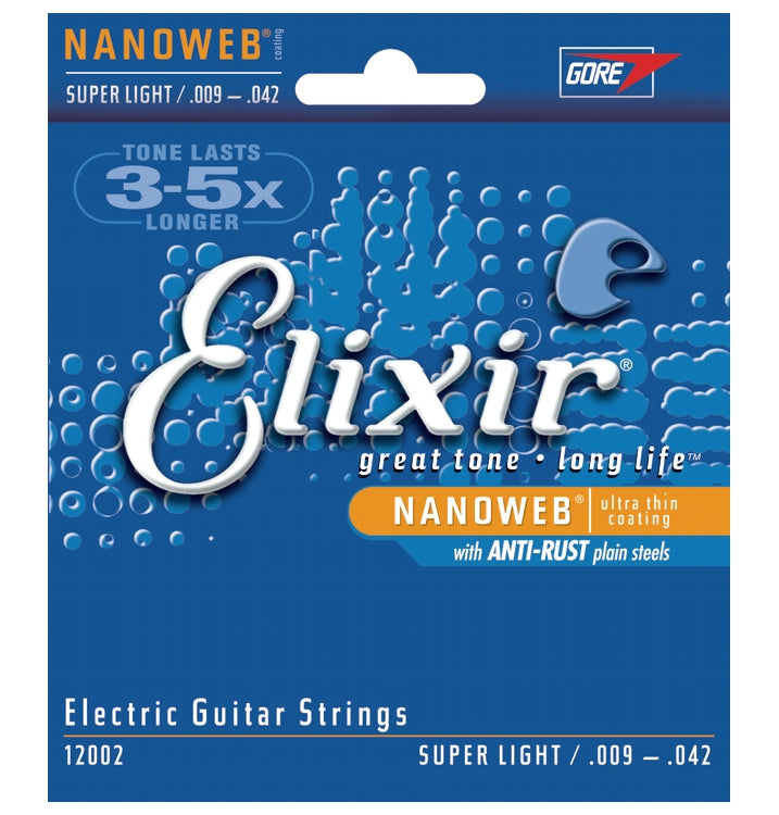 Elixir 12002 Nanoweb Coated Electric Guitar Strings With Anti-Rust, Super Light, (9 - 42)