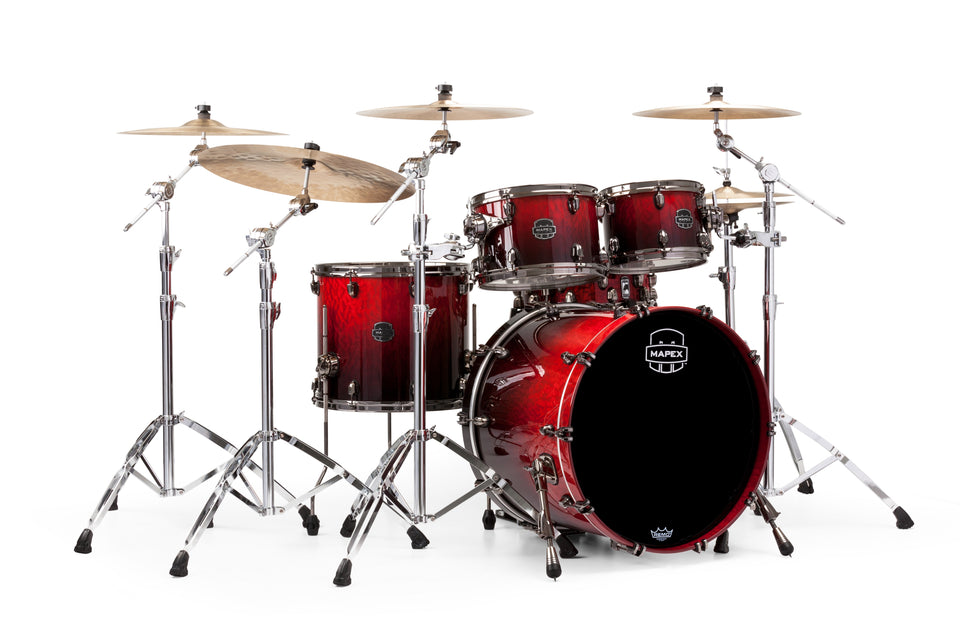 Mapex Saturn V MH Exotic Rock 4 Piece Drum Set Shell Pack - Cherry Mist Maple Burl