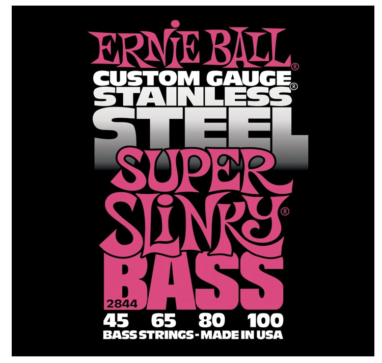 Ernie Ball 2844 Stainless Steel Electric Bass Strings, Super Slinky (45 - 100)