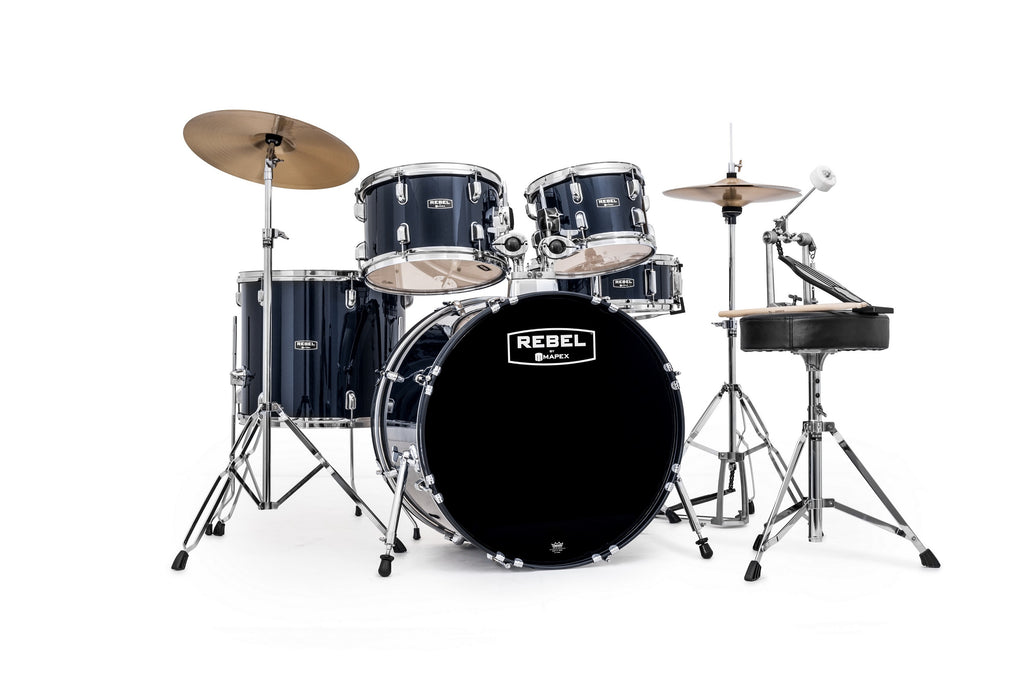 "Mapex Rebel 5-Piece SRO Complete Drum Set, 22"" Kick"