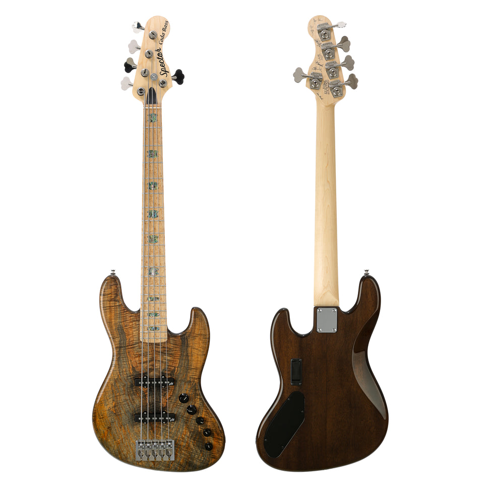 Spector USA Coda5 DLX Spalted Maple Burl Top 5-String Electric Bass - High Gloss Finish, Custom Color