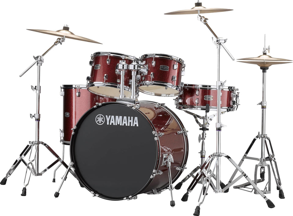 "Yamaha Rydeen 22"" Kick 5 Piece Shell Pack w/ Hardware And Cymbals - Burgundy Glitter"