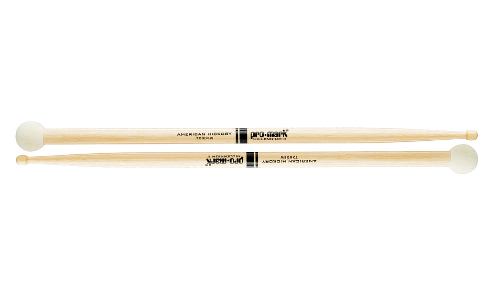 Promark TXSD5W Hickory SD5 Light Multi Percussion Stick, Wood tip, Felt Butt