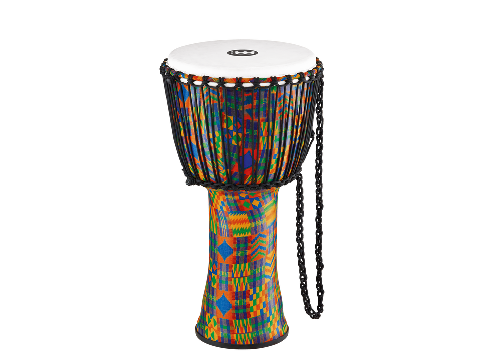 "Meinl 12"" Rope Tuned Travel Djembe Kenyan Quilt Synthetic Head"