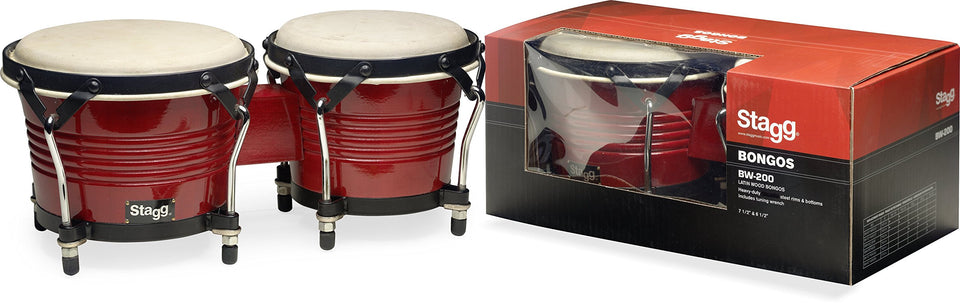 Stagg Latin Wood Bongos - Wild Cherry Finish