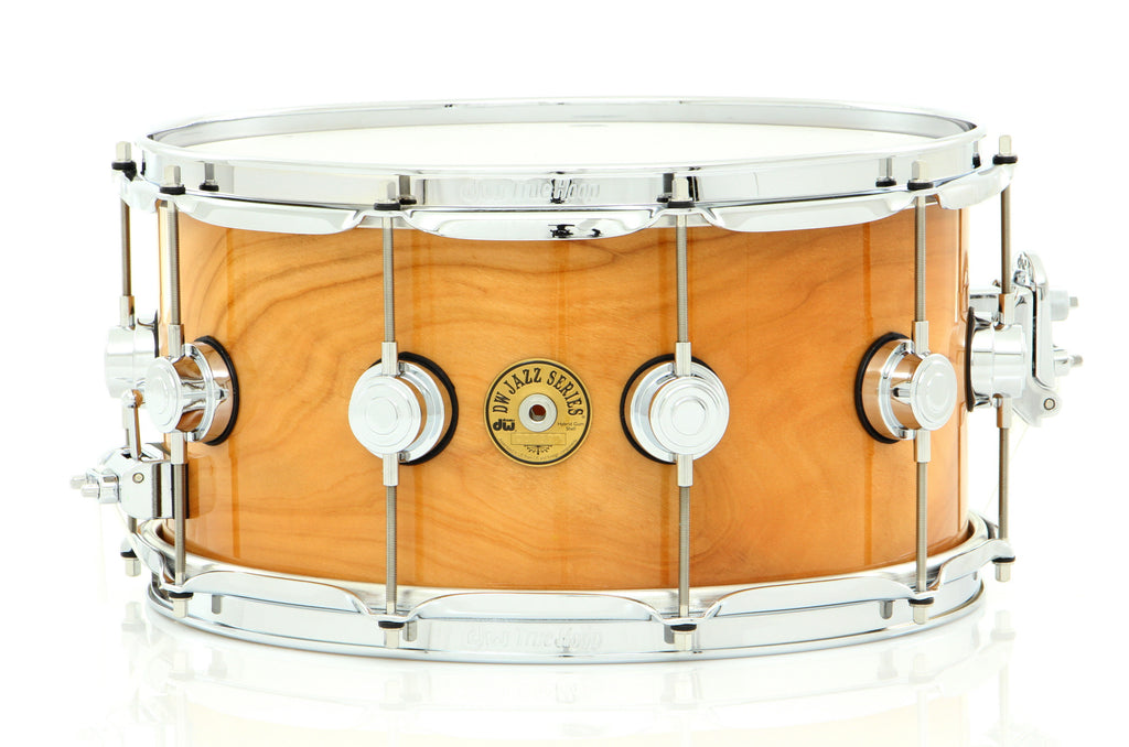 "Drum Workshop 14"" x 7"" Jazz Series Snare Drum Exotic Natural Lacquer Over Rotary Cherry W/ Chrome Hardware"
