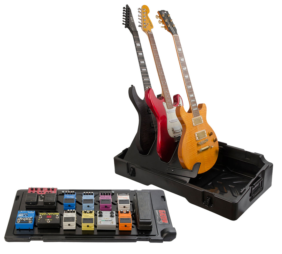 Gator Cases G-GIGBOX2 Gig-Box All-In-One Pedal Board And 3X Guitar Stand Combo Case