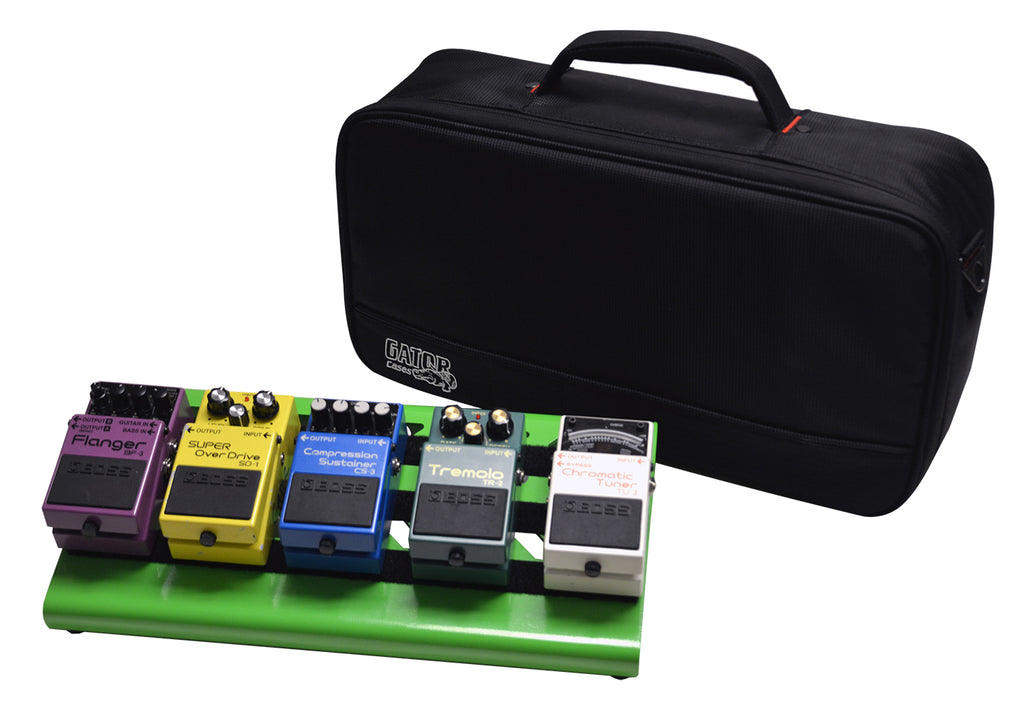 Gator GPB-LAK-GR Screamer Green Small Aluminum Pedal Board With Gator Carry Bag And Bottom Mounting Power Supply Bracket