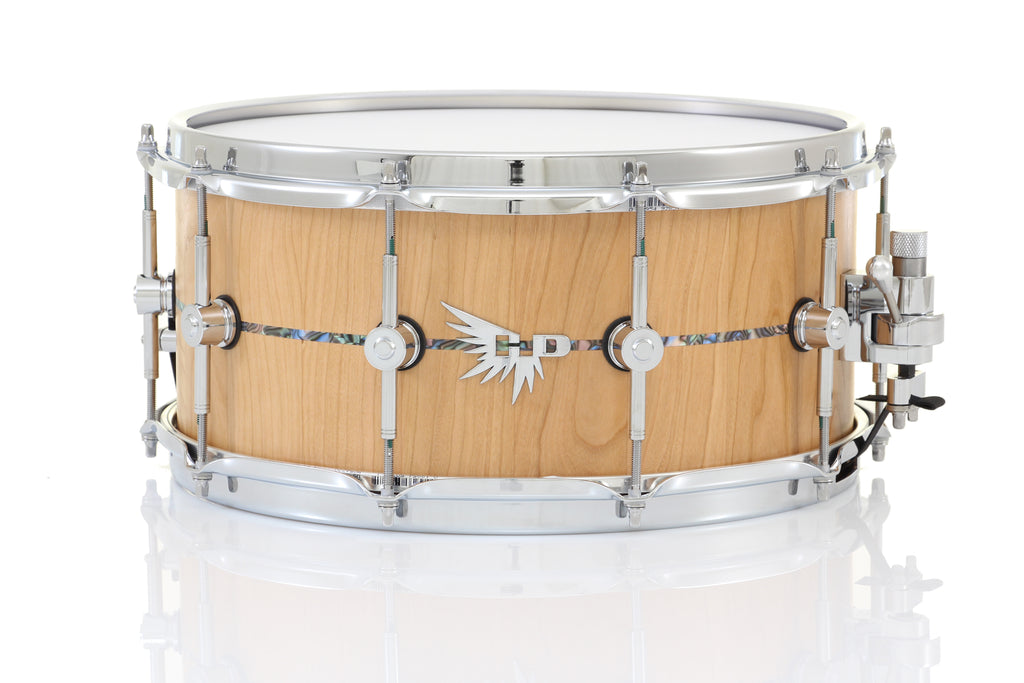 "Hendrix 14"" x 6.5"" Archetype Snare Drum - Satin Cherry, Abalone Inlay"