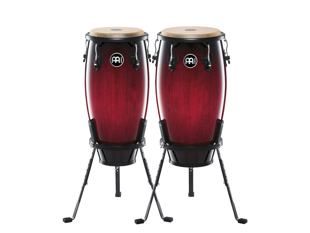 "Meinl HC512WRB Headliner Wood Conga Set 11"" And 12"" With Basket Stands, Wine Red Burst"