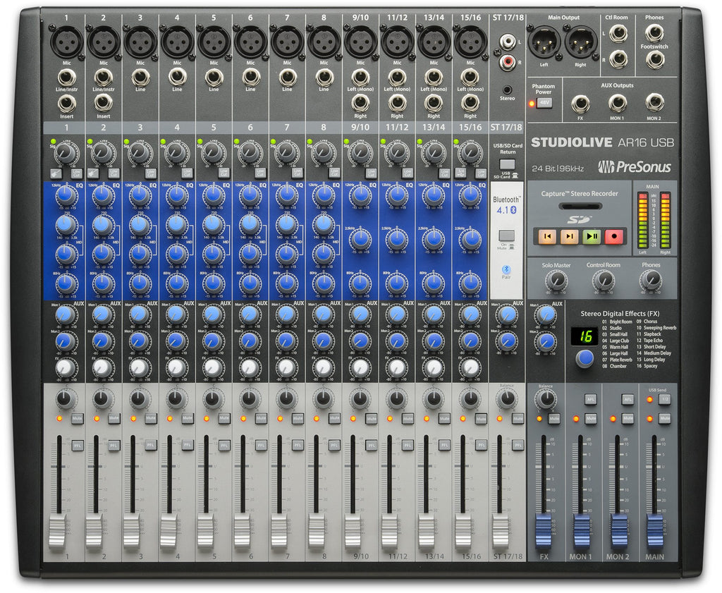 PreSonus StudioLive AR16 18 Channel Hybrid Digital/Analog Performance Mixer