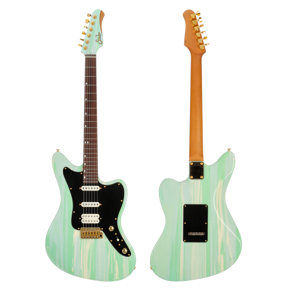 Suhr Custom Classic JM Electric Guitar - Custom Drip Color, Pale Green/Ivory