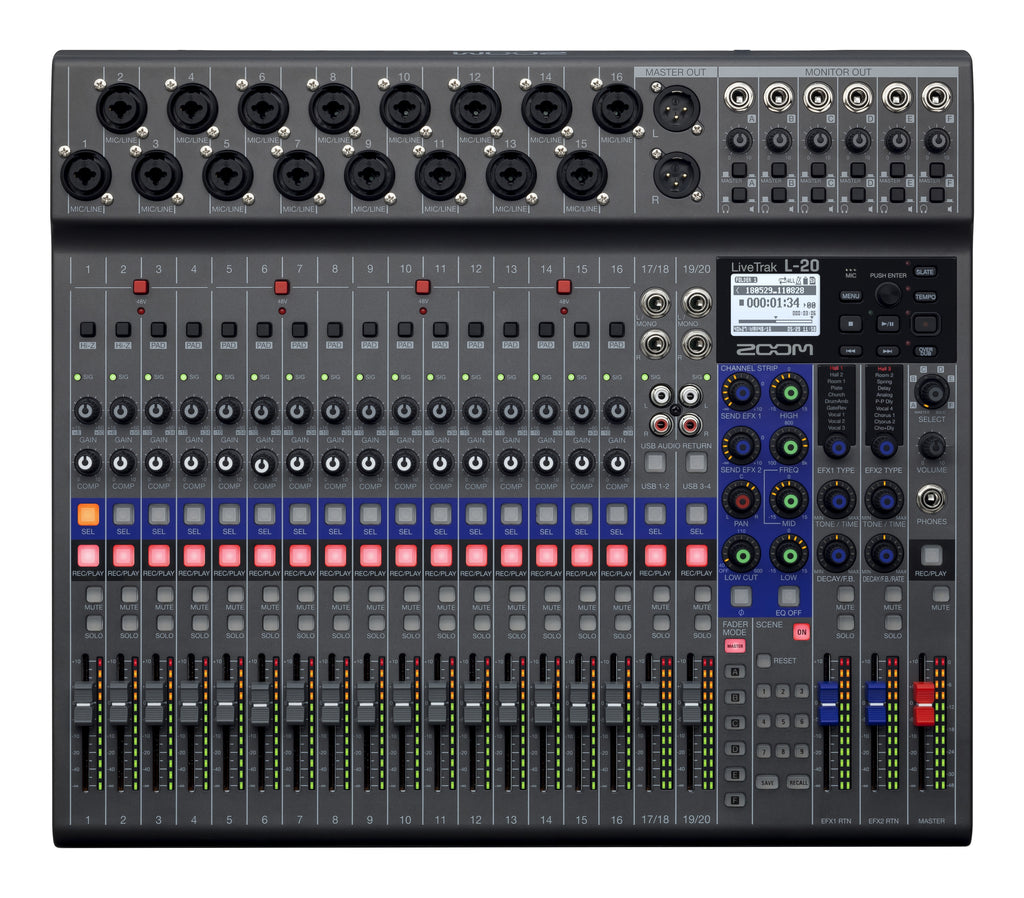 Zoom LiveTrak L-20R Portable Digital Mixer & Recorder