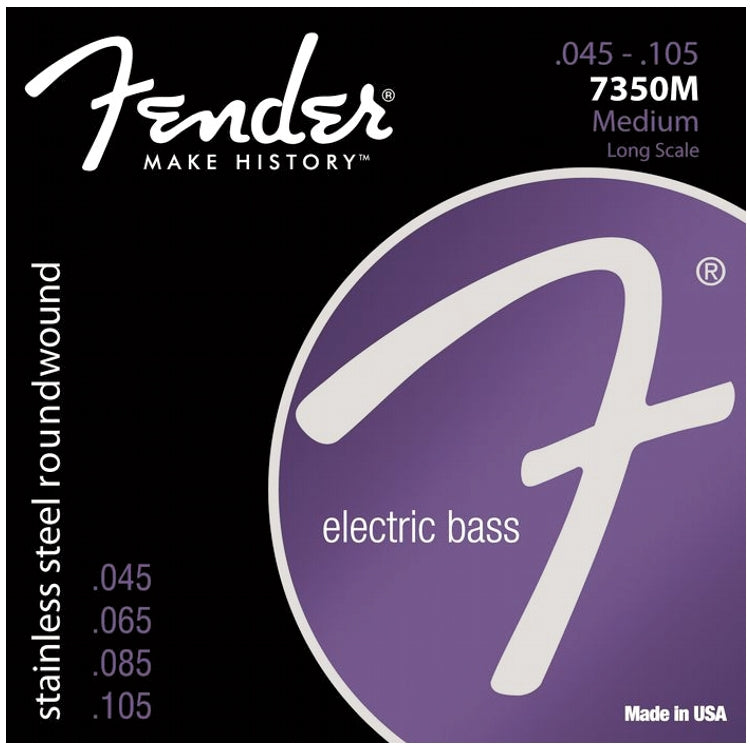 Fender 737350406 7350M Stainless Steel Roundwound Electric Bass Strings, Medium (45 - 105)