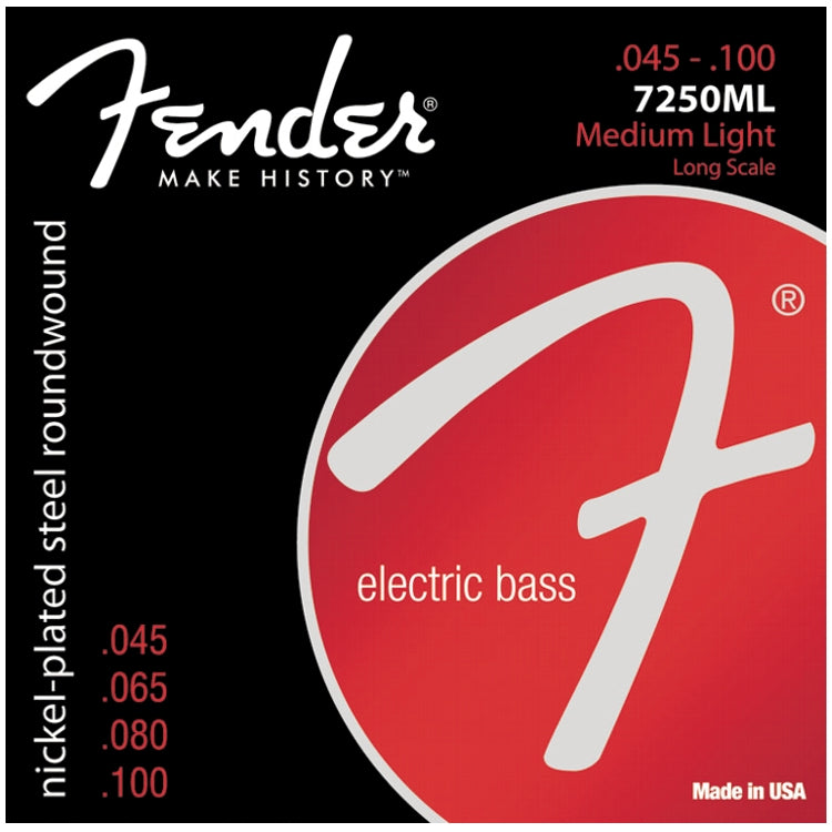 Fender 737250405 7250ML Nickelplated Steel Roundwound Electric Bass Strings, Light (45 - 100)