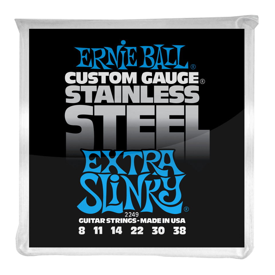 Ernie Ball Extra Slinky Stainless Steel Wound Electric Guitar Strings .08-.38