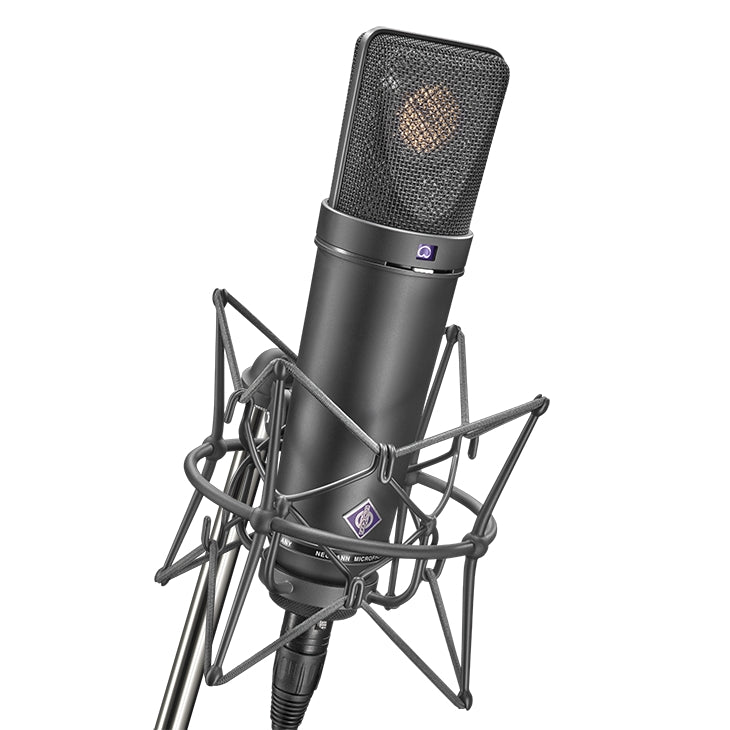 Neumann U 87 AIMT Multi-Pattern Condenser Microphone W/ EA87 Shockmounts and Mic Briefcase - Black Stereo Pair
