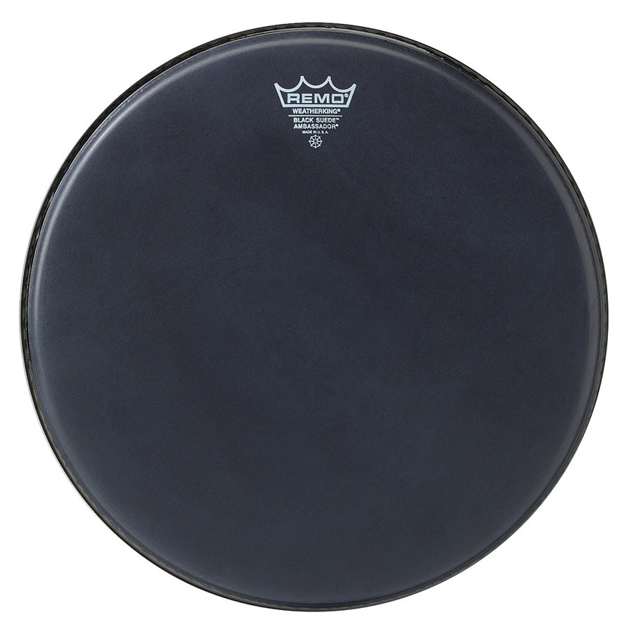 "Remo 18"" Black Suede Ambassador Drum Head"