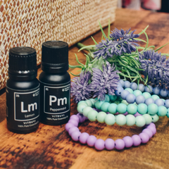 lemon and peppermint essential oils with therapy threads aromatherapy bracelets
