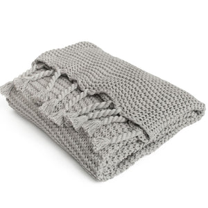 ZESTT Organic Cotton Comfy Knit Throw (Gray)