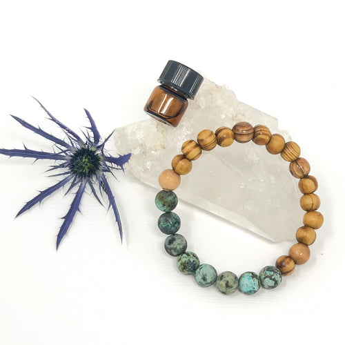 African Turquoise & Olive Wood Diffuser Bracelet
