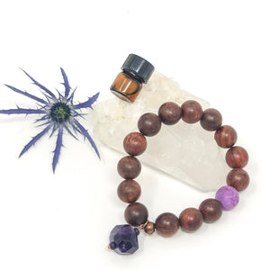 Amethyst & Redwood Aromatherapy Diffuser Bracelet