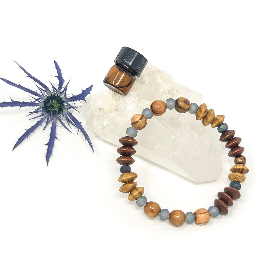 Blended Wood & Crystal Diffuser Bracelet
