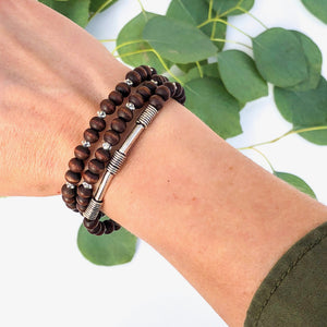 Rosewood & Silver Accent Diffuser Bracelet Stack