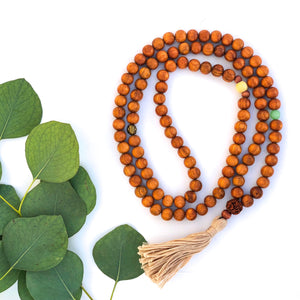 Tassel Aromatherapy Diffuser Meditation Mala Necklace  (Light Wood)