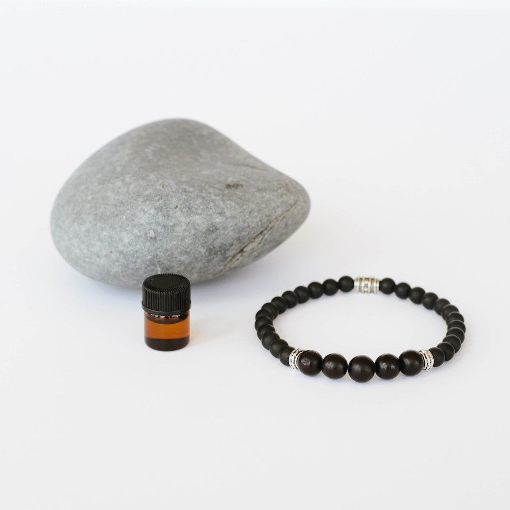 Men's Aromatherapy Wood, Black Onyx & Pewter Bracelet