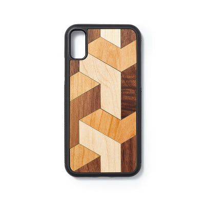 Wooden Iphone X/XS back case block design - Woodstylz