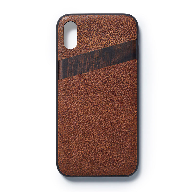 iPhone  X back case leather and sandalwood - Woodstylz