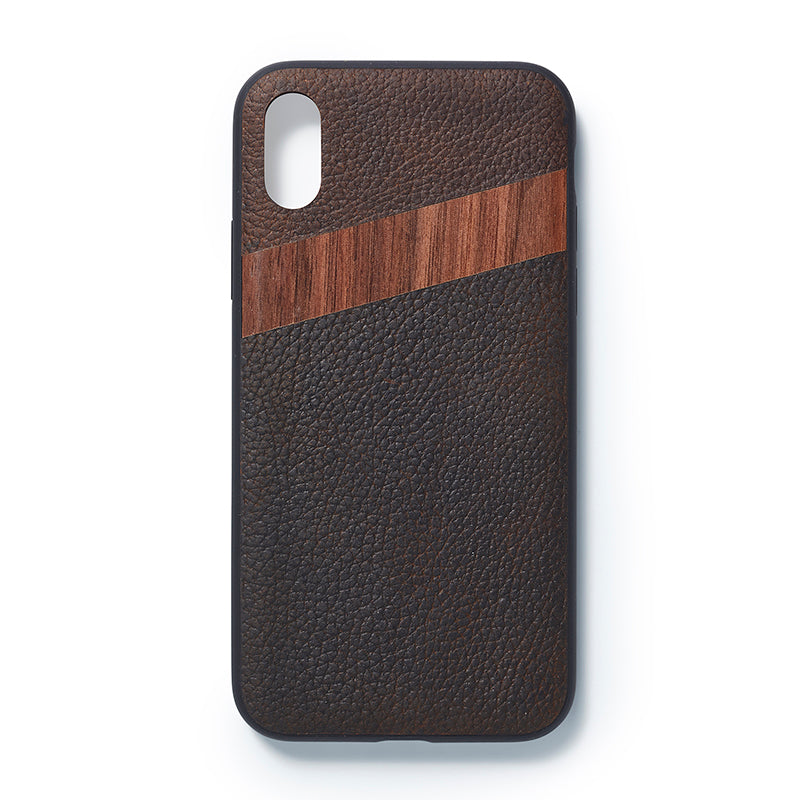 iPhone  X back case leather and walnut - Woodstylz
