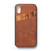 iPhone X back case leather and zebrano - Woodstylz