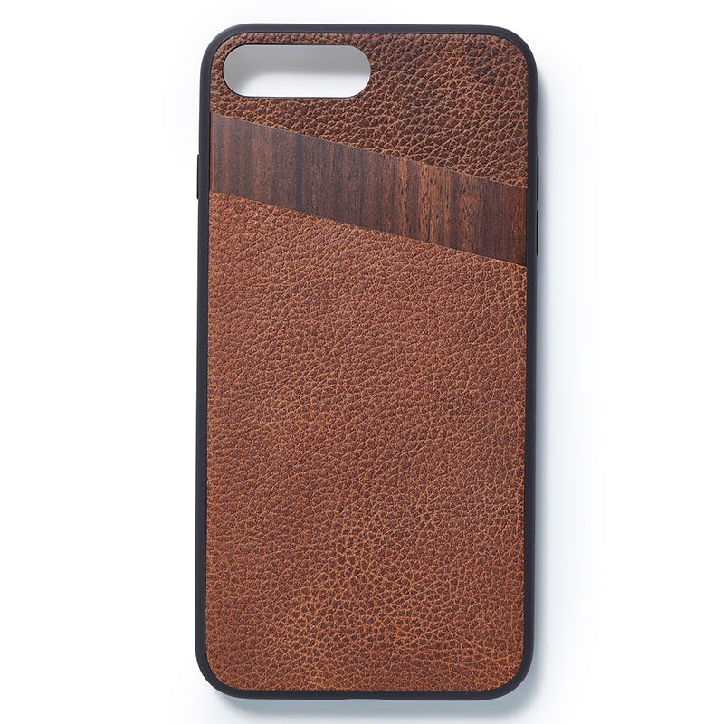 iPhone 7 and 8 plus back case leather and wood - Woodstylz
