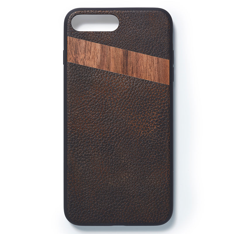 iPhone 7 and 8 plus back case leather and walnut - Woodstylz