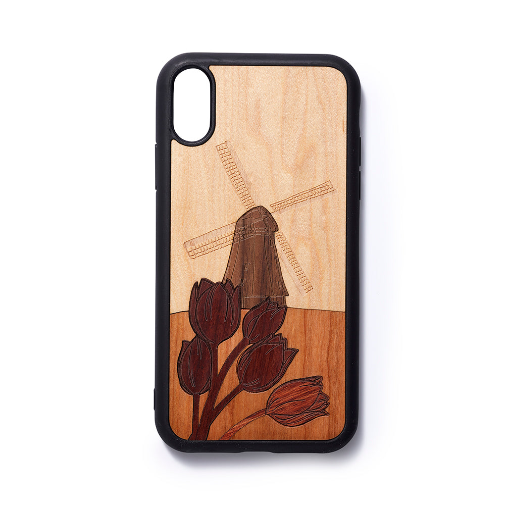 Wooden Iphone XR back case Windmill - Woodstylz