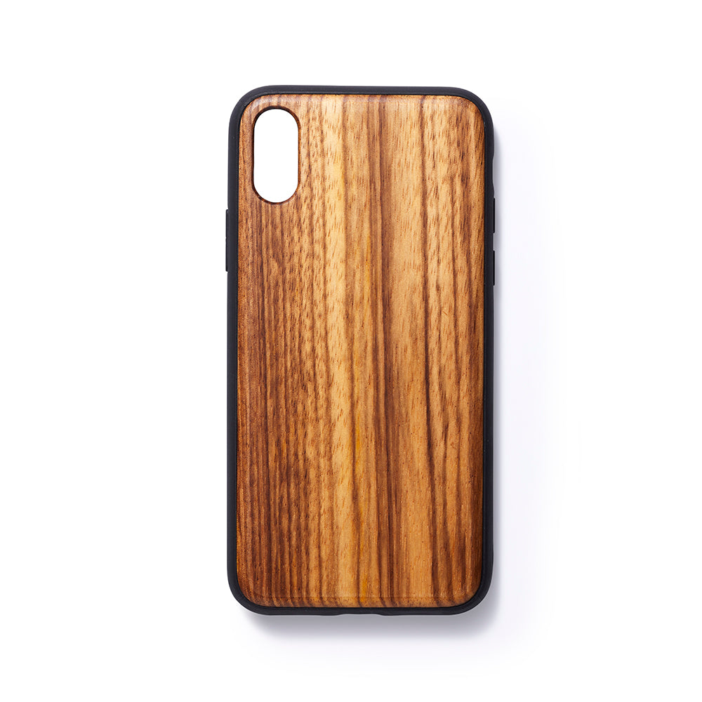 Wooden Iphone X slim fit back case zebano - Woodstylz