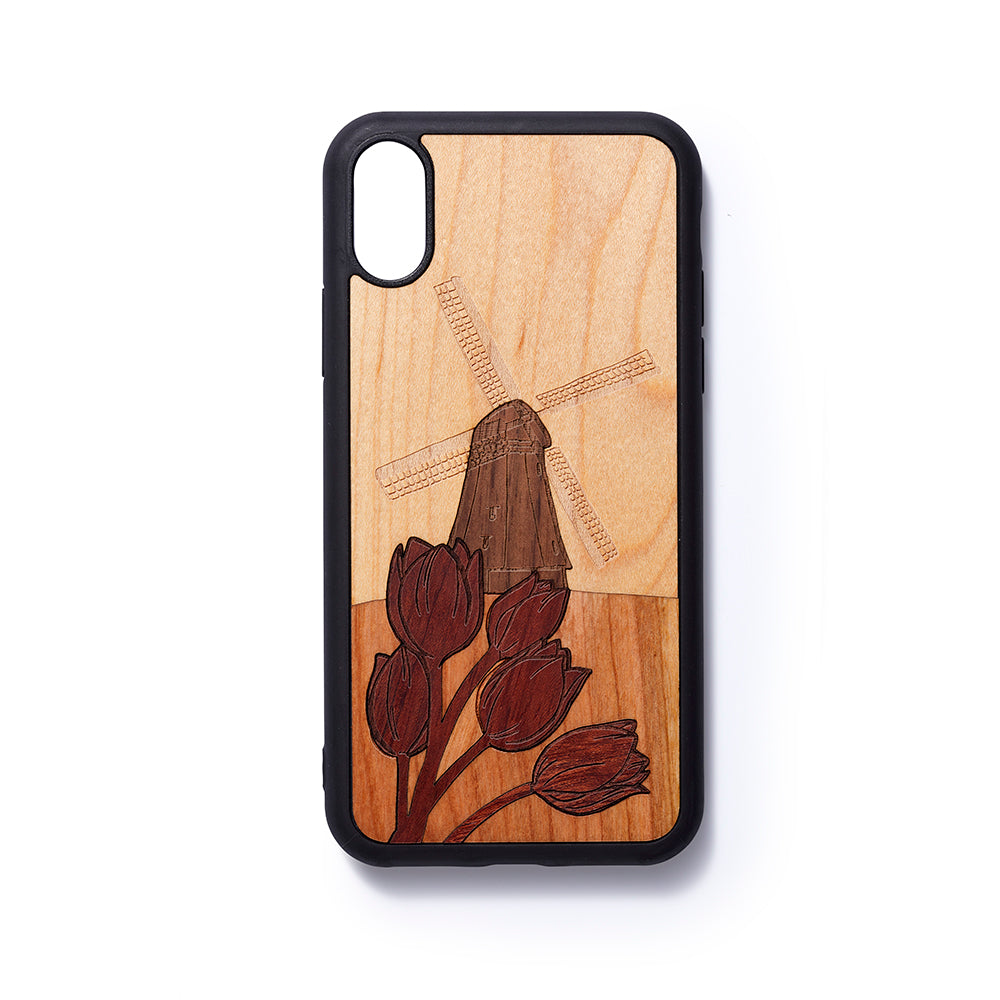Wooden Iphone X back case Windmill - Woodstylz