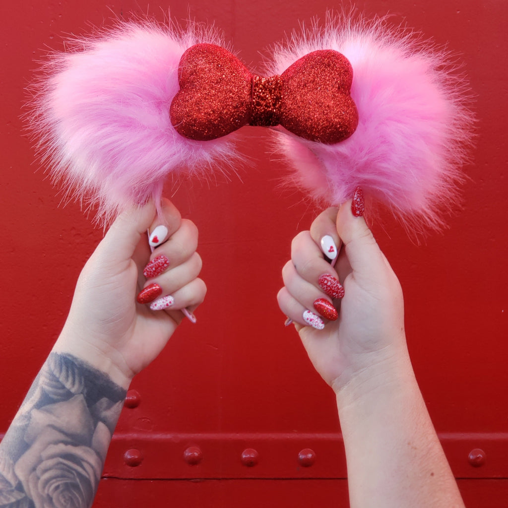 DIY: $8 Fur Pom Pom Valentine's Day Mouse Ears
