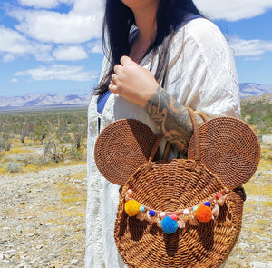 Oversized Rattan Mouse Purse SHIPS IN 6 WEEKS